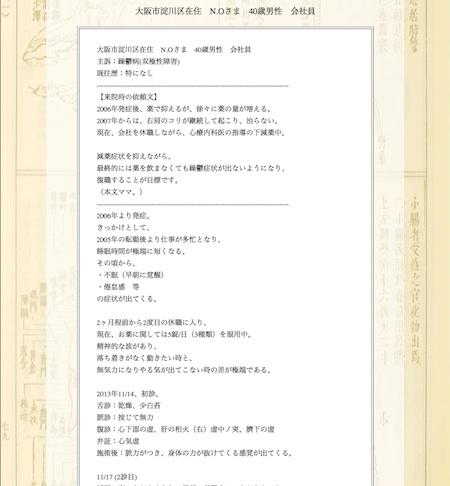 躁鬱病:大阪市淀川区のN.O様