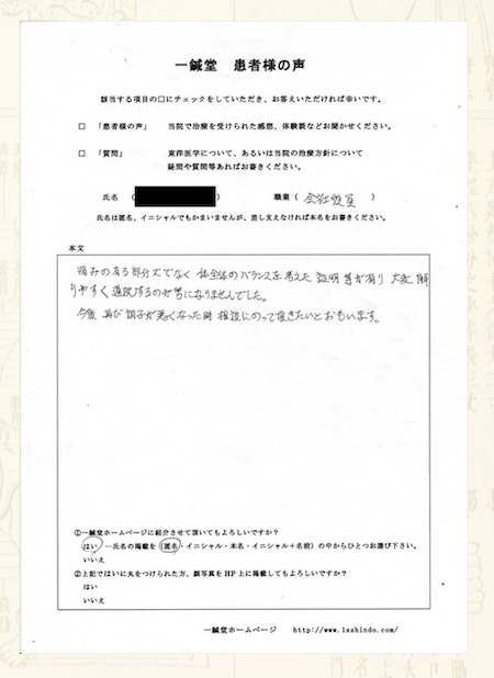 腰痛:大阪府八尾市の匿名希望様