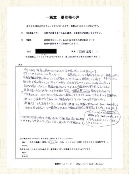 腰痛・肩の痛み:京都府下京区のY.Mさま