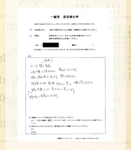 卒腰痛(ギックリ腰):大阪府吹田市の匿名希望様