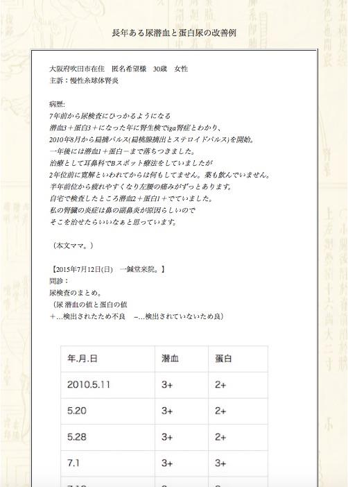 【症例集】慢性糸球体腎炎:大阪府吹田市の匿名希望様