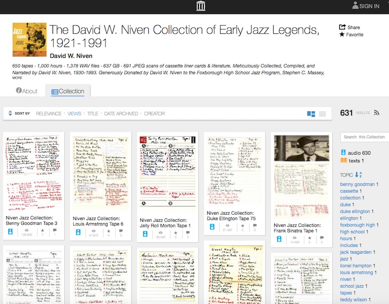 The David W. Niven Collection of Early Jazz Legends, 1921-1991