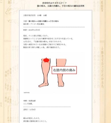 膝の痛み・太腿の肉離れ・手首の痛み:大阪市旭区のI.N様