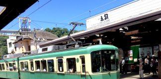 7月の鎌倉 雲一つない晴天でした 江ノ島電鉄長谷駅にて