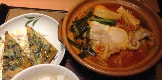チゲ鍋定食を頂きました。寒い日にはこの暖かくて辛い鍋が良いですね。ご飯が進みます!(心斎橋本から徒歩2分のやよい軒にて)