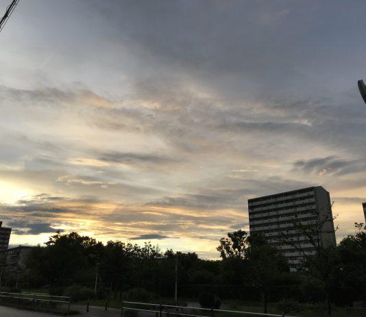 雨上がりの西の空 夕焼けが綺麗でした