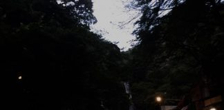 夕暮れ時の滝